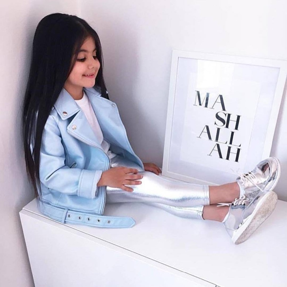 Children Girls Autumn Winter Sky Blue Color PU Leather Coat Baby Girls Warm Jackets Outwear Kids Clothing 2-7T Children Jackets new spring teenagers kids clothes pu leather girls jackets children outwear for baby girls boys zipper clothing coats costume