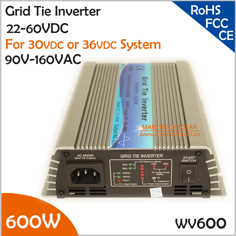 600W 22-60VDC 90-140VAC wide DC input grid tie inverter suitable for 30V or 36V solar power system or wind system solar power on grid tie mini 300w inverter with mppt funciton dc 10 8 30v input to ac output no extra shipping fee