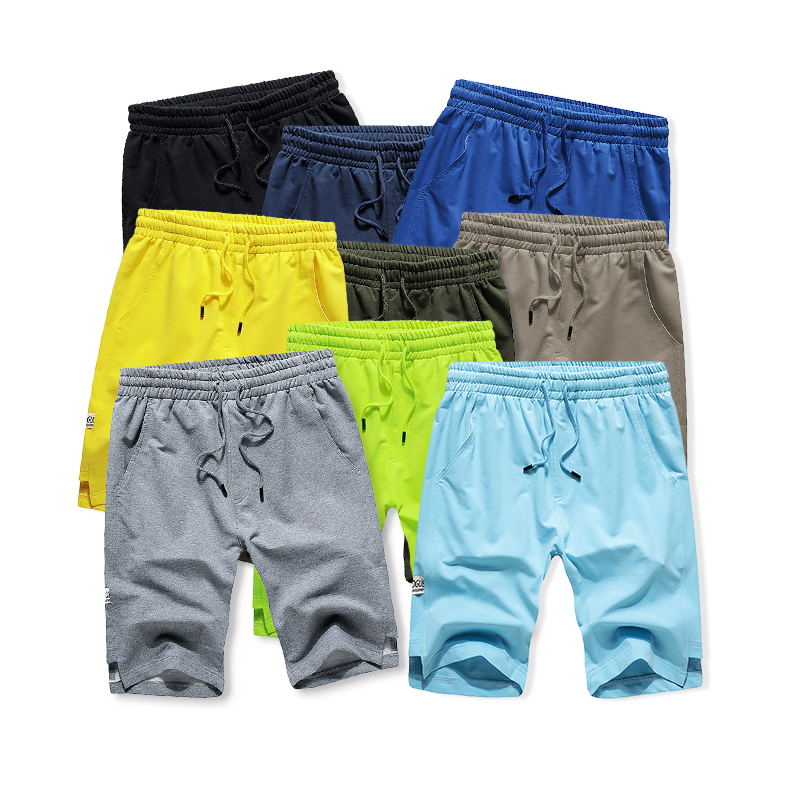 2019 Cotton Boardshorts Men Summer Elastic Waist Casual Mens Beach Shorts Loose Work Male Trousers 9 Colors Shorts Big US Size