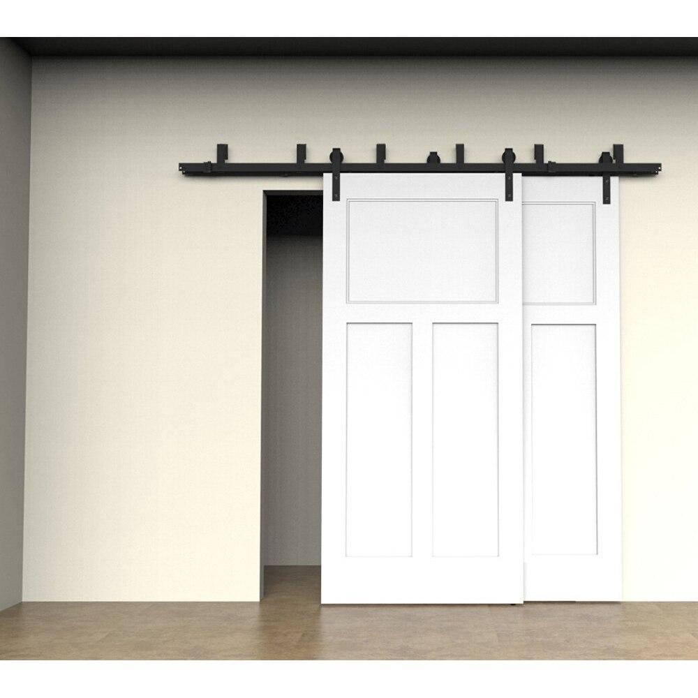 Modern interior sliding door - 12 16ft Modern Interior Doors Domestic Sliding Barn Wood Door Hardware Steel Country Style Black