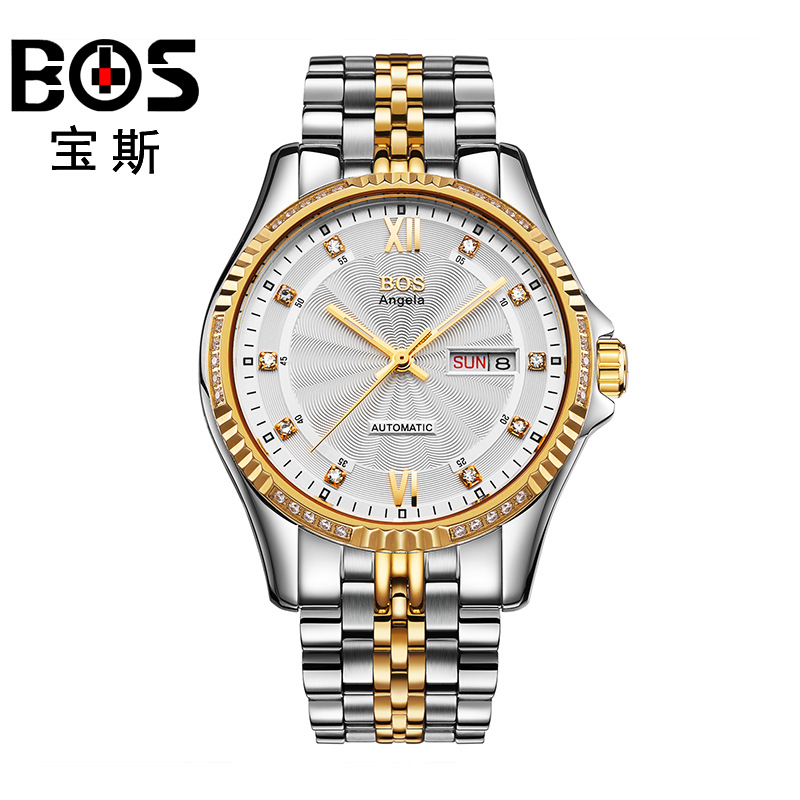 ANGELA BOS Famous Brand Automatic Watch Mens Mechanical Black Stainless Steel Luminous Calendar Date Waterproof Luxury Watch Men angela bos ceramics stainless steel skeleton automatic watch mens mechanical waterproof date week luminous wrist watches men
