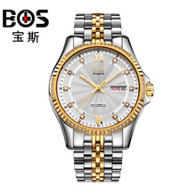 ANGELA BOS Famous Brand Automatic Watch Mens Mechanical Black Stainless Steel Luminous Calendar Date Waterproof Luxury Watch Men