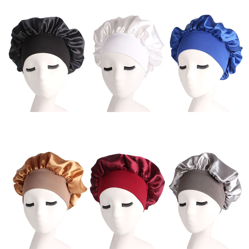 1 Pcs Hair Bonnet Cap Wide Elastic Band Sleeping Salon Bathing For Women Lady Girls -MX8
