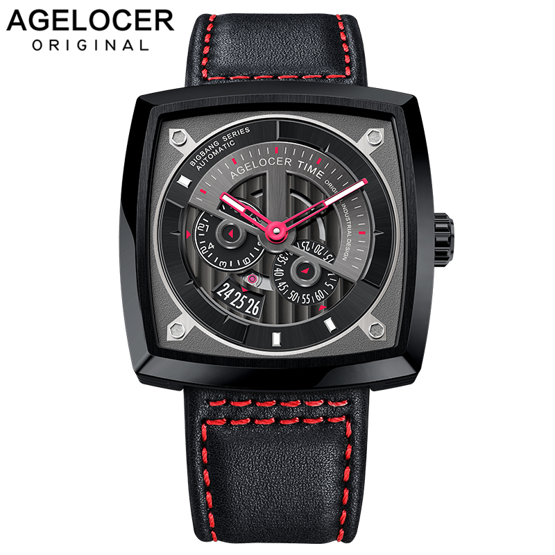 AGELOCER Swiss Mens Sport Automatic Watches Big Black Steel Self Wind Mechanical Punk Military Watches Power Reserve 5604J4AGELOCER Swiss Mens Sport Automatic Watches Big Black Steel Self Wind Mechanical Punk Military Watches Power Reserve 5604J4