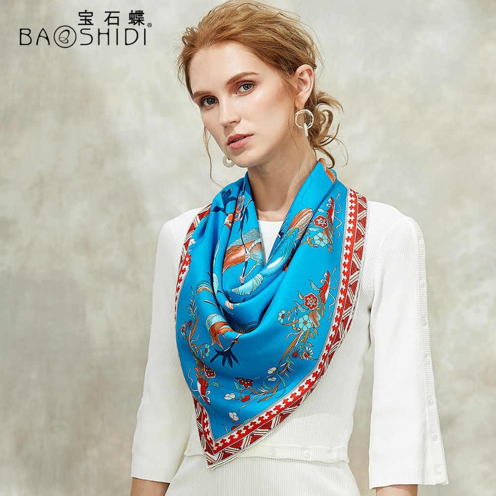 BAOSHIDI 2018 秋の新 100% サテンシルク 88*88 大正方形スカーフ、高級ブランドオリジナルデザインのスカーフ、エレガントな女性のギフトショール