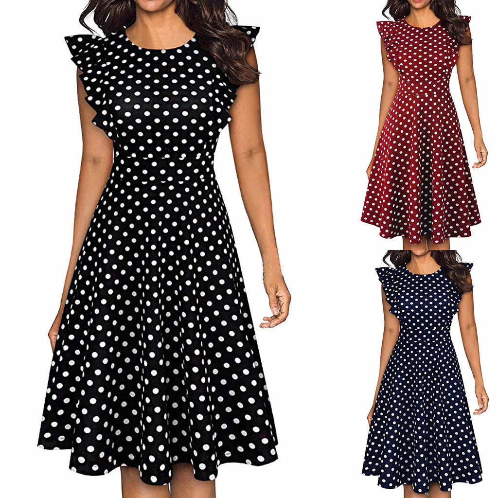 TELOTUNY Women Dress Polyester 2019 Fashion Women Vintage Dot Printed Ruffle Sleeveless Casual Cocktail Party Dresses 19APRI12