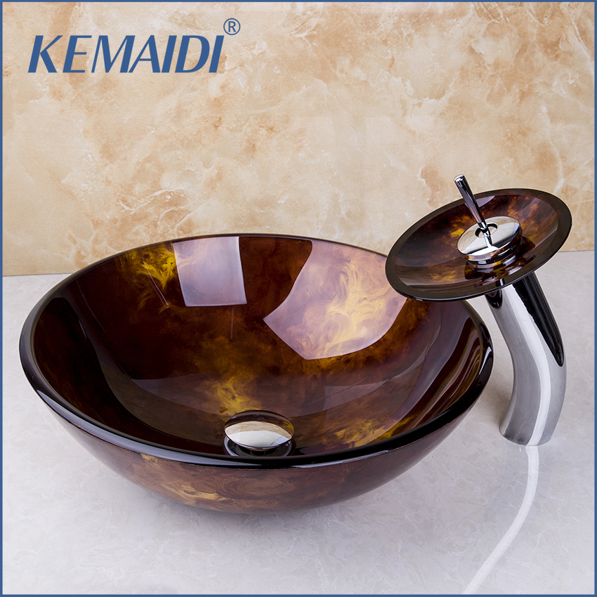 New Bathroom Sink Faucet Bathroom Lavatory Basin Sink Tempered Glass Washbasin Vessel Bowl Hand Painting Finish