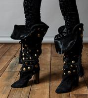 Winter New Fashion Women Pointed Toe Gold Metal Button Rivet Chunk Heel Knee High Boots Lace up Black Suede Thick High Heel Boot