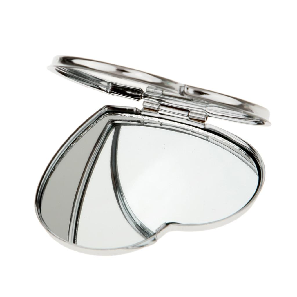 Spiegel Haut Pflege Werkzeuge Metall Herz Form Reise Folding Tasche Kosmetik Spiegel Handtasche Doppel-seite Kompakte Make-up Spiegel Make-up-tools Dauerhafter Service