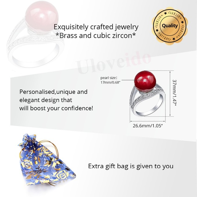 15% Off Wedding Rings for Women Valentine's Day Gift Simulated Pearl Ring Red Fashion Jewelry Masculino Aneis Sale Uloveido J381