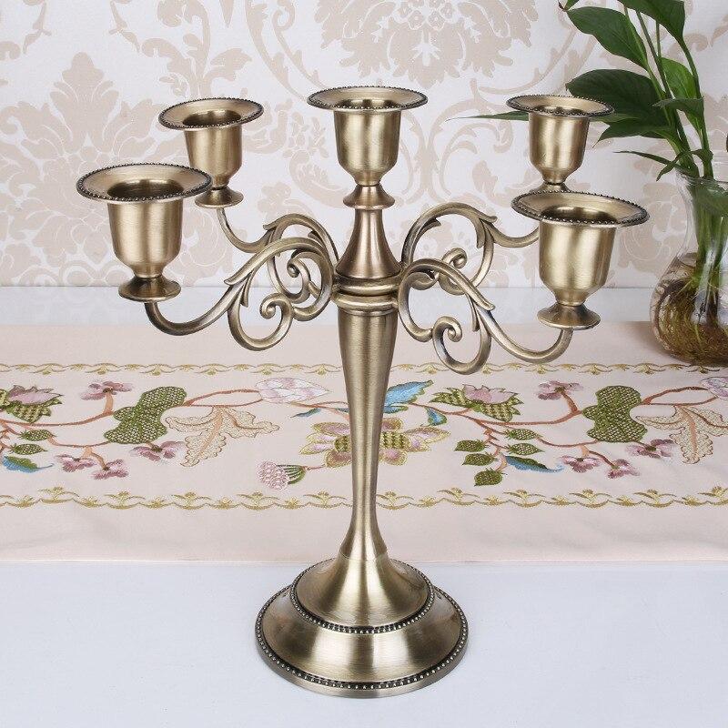 Prata/ouro/preto/bronze metal castiçal retro 5-braços candelabros castiçal casamento transporte da gota