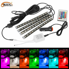 KEEN hot sale 12V 12cm 12smd 5050 auto led interior light waterproof flexible atomosphere strip lights with 24keys controller(China)