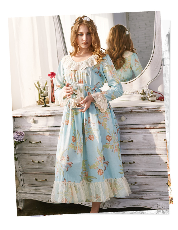Long Sleeve Nightgown Vintage Ladies Home Home Clothes Dress Women Sleepwear Printing