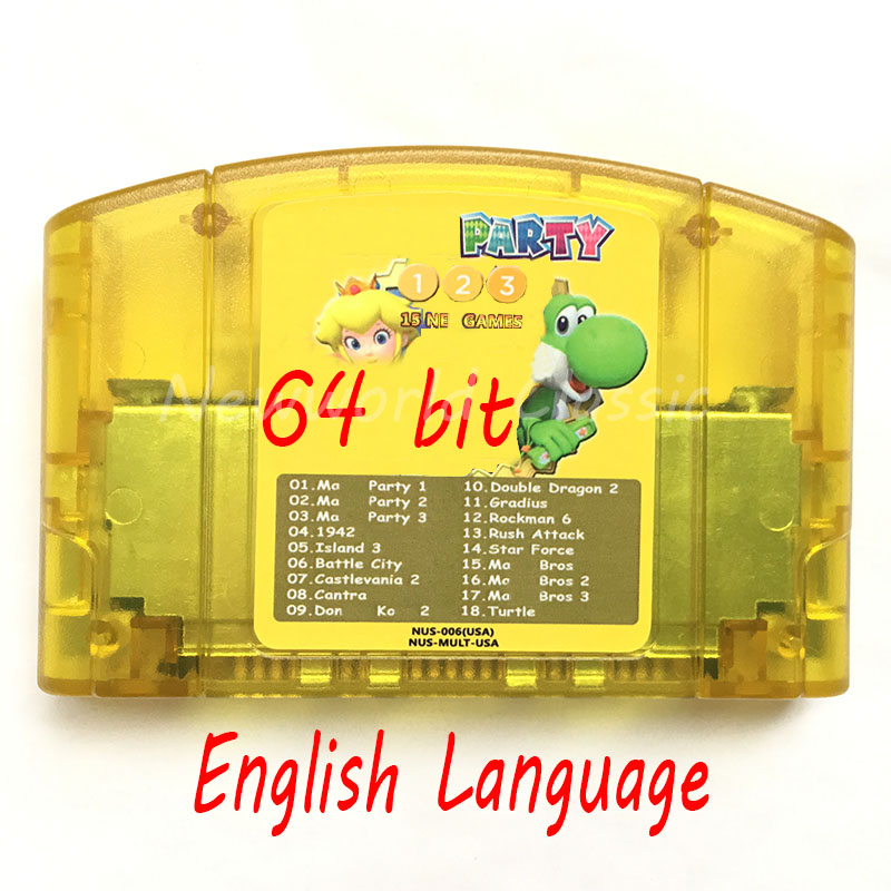 Super 18 in 1 (Party 123+15 Game) English Languae Video Game Cartridge Card for 64 Bit  Game Console US NTSC Version-in Memory Cards from Consumer Electronics