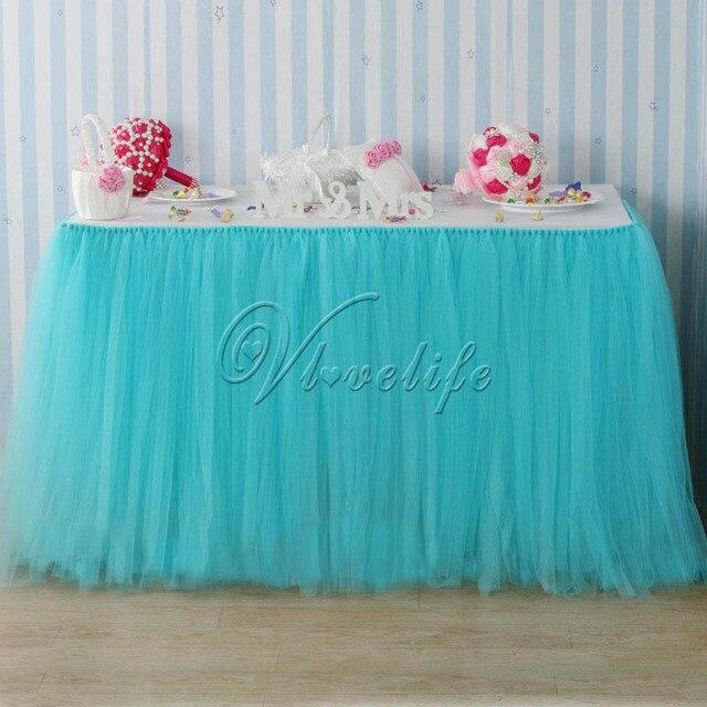 e64e38f22 € 10.32 49% de DESCUENTO|100 cm x 80 cm azul claro turquesa tul tutú Mesa  faldas vajilla para fiesta de boda Baby Shower cumpleaños Navidad ...