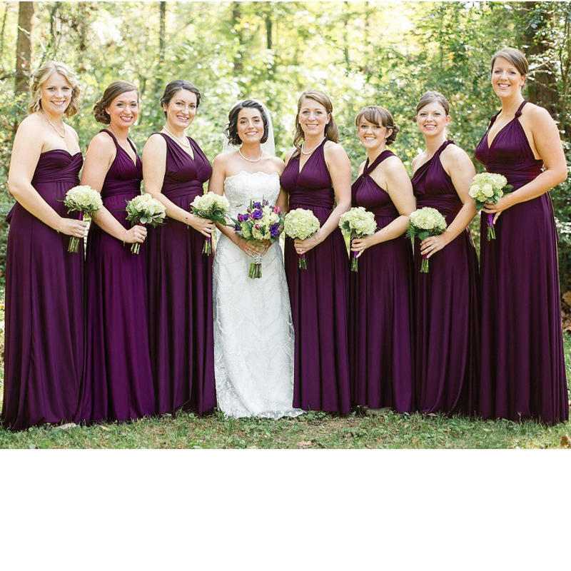 US $79.99 40% OFF|Dark Purple infinity Bridesmaid Dress Multiway Long Dress  Plus Size Maxi Convertible Wrap Dress With Halter Styles-in Bridesmaid ...