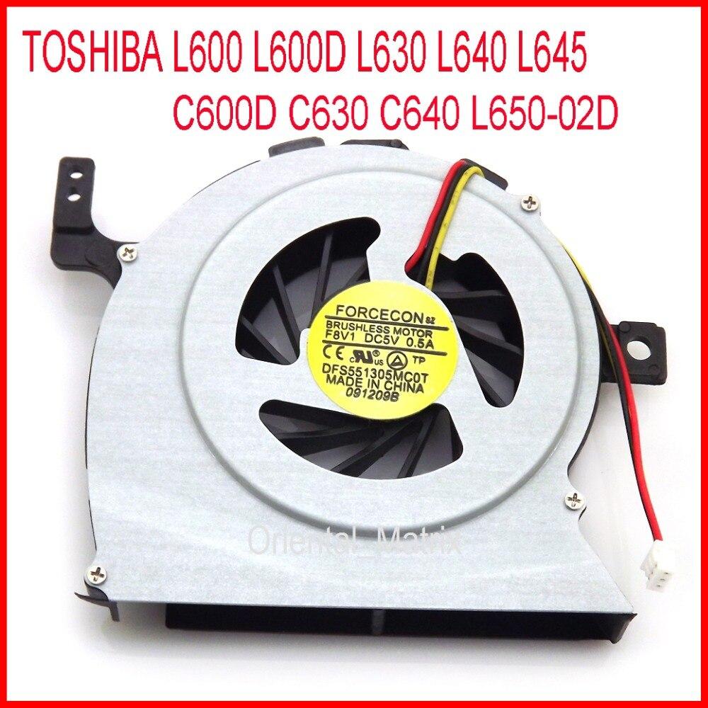 Darmowa wysyłka DFS551305MC0T DC5V 0.5A dla TOSHIBA C600D C630 C640 L650 02D L600 L600D L630 L640 L645 wentylator chłodzący CPU w Wentylatory i chłodzenie od Komputer i biuro na title=