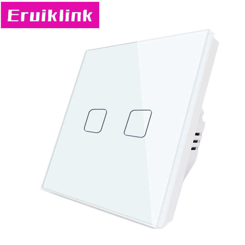 EU/UK Standard Touch Switch,1/2/3 Gang 1 Way Crystal Glass 220V Wall Light Switch Can't be remote controlled