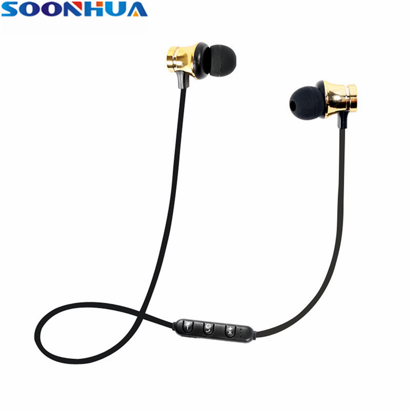 SOONHUA Magnetic Wireless Headphone Bluetooth Earphone Fone de ouvido For Phone Stereo Sports Running Earbuds Bluetooth V4.2 rs 01 magnetic movement running stereo mini wireless bluetooth headphone
