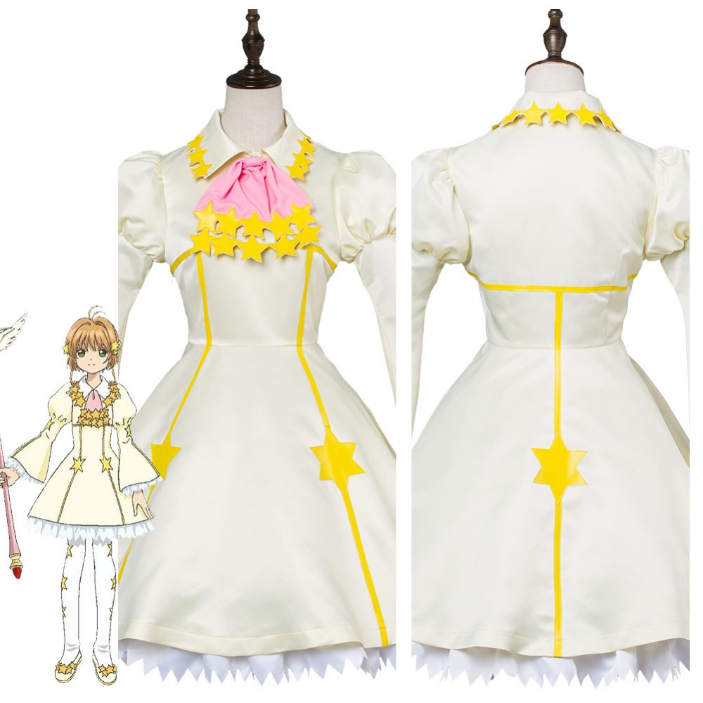 Cardcaptor Sakura Cosplay Costume Cardcaptor Sakura Clear Card Kinomoto Sakura Star Battle Dress Cosplay Costume cardcaptor sakura kinomoto sakura clear card version 19cm anime model figure collection decoration toy gift