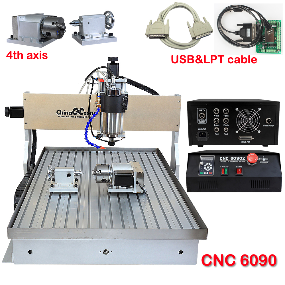 DIY CNC Engraving Machine PCB Milling Wood Carving Machine 6090 CNC Router 4axis 2200W with Water chiller EU Stocks 4axis cnc router 3040z vfd800w engraving machine cnc carving machine cnc frame assembled