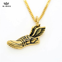 New Trendy 18K Gold Plated Flying Shoes Pendant Stainless Steel Running Shoe W Wings Sports Shoes