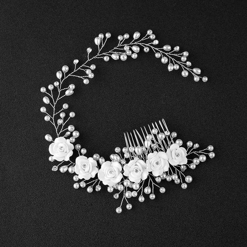Flores nupciales Faux perla boda tiara para chica diadema floral diadema pelo