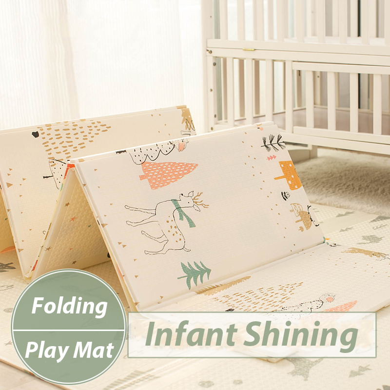 Infant Shining Kids Play Mat Folding Puzzle Playmat Game Pad for Infants 200*150*1cm Foam Crawling Mat Pack and Play Mattress infant shining baby play mat xpe carpet thickening toy crawling puzzle mat 200 180 2cm kids mat for infants play mat gym