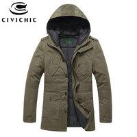 CIVICHIC Vintage Hooded Down Jacket Top Grade Thick Parka Men Winter Overcoats Eiderdown Outerwear Warm Jaqueta Daunenjacke DC05