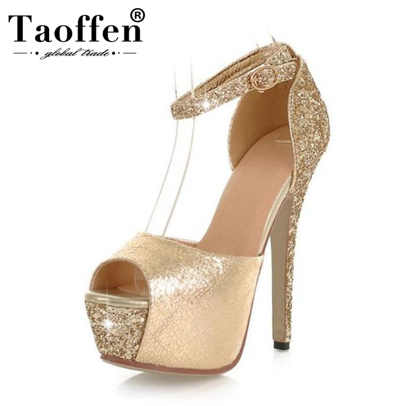 TAOFFEN Nightclub Sexy Thick Platform Shoes 13Cm High-Heeled Sandals Peep Open Toe Silver Sequins Wedding Shoes Plus Size 32-43TAOFFEN Nightclub Sexy Thick Platform Shoes 13Cm High-Heeled Sandals Peep Open Toe Silver Sequins Wedding Shoes Plus Size 32-43