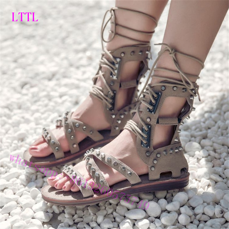 2017 New Gladiator Shoes women Cross-tied Summer Boots Flat Heels Knee High Shoes Woman Strappy Sandals wedding women shoes  rome new sexy high heels wedding shoes woman 2017 brand cross tied women luxury retro square toe gladiator sandals women boots