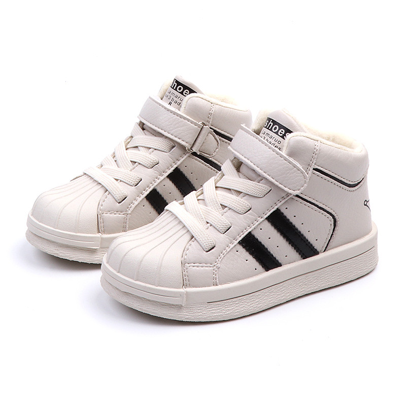 Warm Kids Shoes 2018 New Brand Girls Winter Shoes High Top Boy Sneakers  Children Fashion Leather d60bade445b5