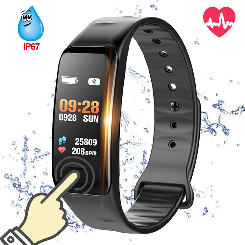 C1S Bluetooth pulsera inteligente presión arterial Monitor de frecuencia cardíaca Fitness Tracker impermeable Color Wristband para Android IOS