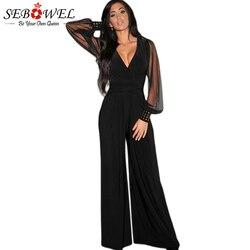 SEBOWEL مثير الأسود مش طويل كم زائد حجم بذلة النساء واحد قطعة بنطال ذو قصة أرجل واسعة السروال القصير شبكة طويلة بانت النادي الليلي الملابس