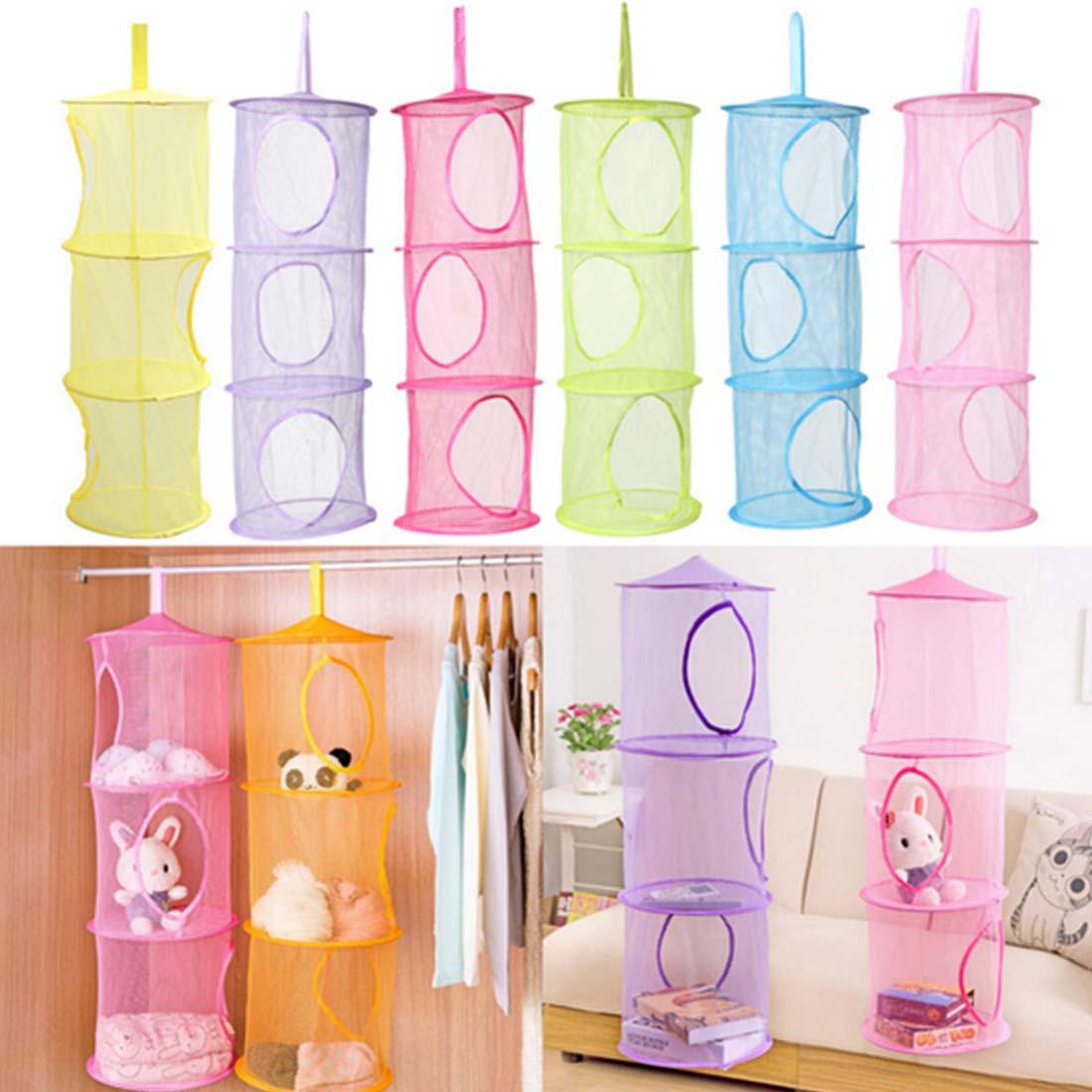 Gentil 3 Tier Mesh Hanging Foldable Nest Storage Baskets Wardrobe Laundry Basket  Portable Underwear Sundries Organizer Toys Container