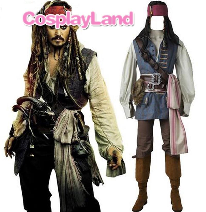 Capitaine Jack Sparrow Costume Cosplay Pirates des Caraïbes Jack Sparrow Costume Adulte Hommes Custom Made Halloween Costume Costumes