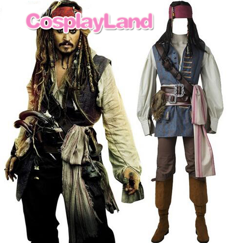 Capitaine Jack Sparrow Costume Cosplay Pirates des Caraïbes Jack Sparrow Costume Adulte Hommes Custom Made Halloween Costume Costumes