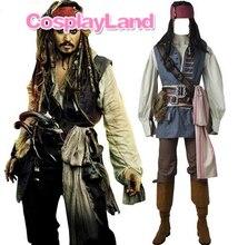 Капитан Джек Воробей Костюм Косплэй Пираты Карибского моря Джек Воробей Костюм для взрослых Для мужчин индивидуальный заказ Хеллоуин костюм Костюмы