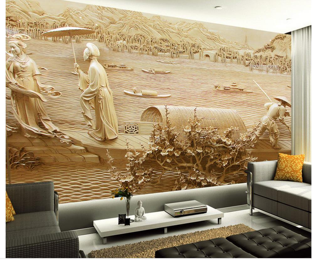Home Decoration 3d wallpaper for room Wood carving classical People ...
