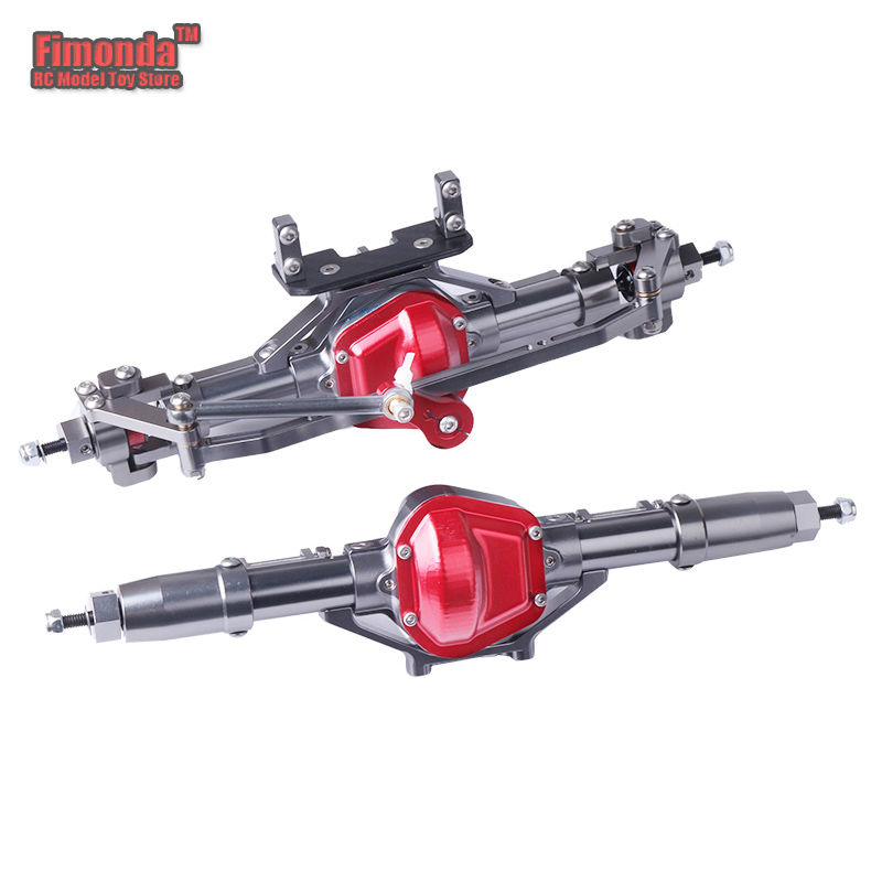1/10 Full Alloy RC Car Front And Rear Axle Driveshafts Steering Linkage Set For RC Crawler AXIAL SCX10 RC4WD D90 Titanium Red rc car 1 10 metal complete alloy front and rear axles for 1 10 rc crawler d90 scx10 rc4wd axial yota 2