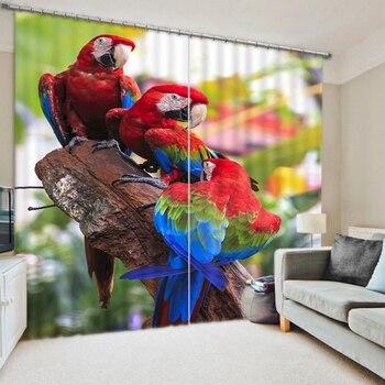 узорные шторы   Новый 3D затемненный занавес S Красный Зеленый попугай на ветке дерева узор моющийся материал Штора для детской для гостиной кафе 360*270 см