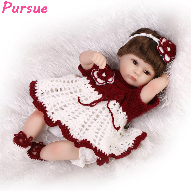 ФОТО Pursue 17 inch 43cm Fashion Bebe Reborn Dolls for Girls Boys Doll Baby Real Synthetic Hair Red White Sweater Flower Headband New