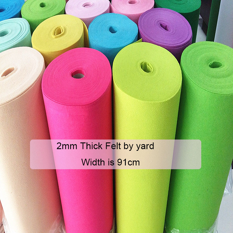 2mm Thick Felt Fabric Handmade DIY Non-Woven Cloth Felts,Feltro Polyester Fabrics Soundproof Shockproof Material By Yard
