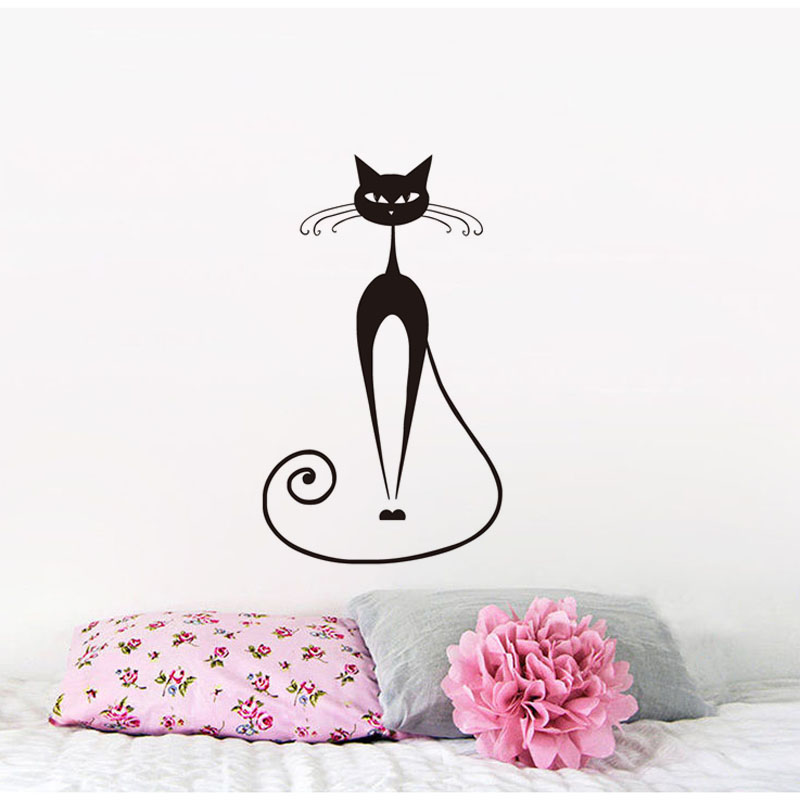 Long Siamese Cat Viny Wall Sticker For Kids Rooms Removable Kitchen Decals Slim Cat Home Decor