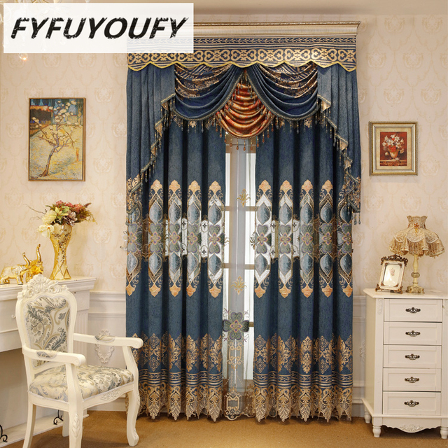 Europe Luxury embroidery Blackout curtain For the living Room ...