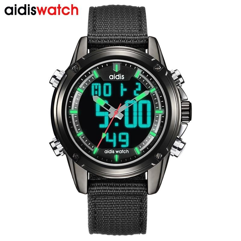 Addies 2018 Neue Top Luxus Marke Analog Led Uhren Männer Leder Quarzuhr Männer Armee Militär Sport Armbanduhr Dual Display Neueste Mode