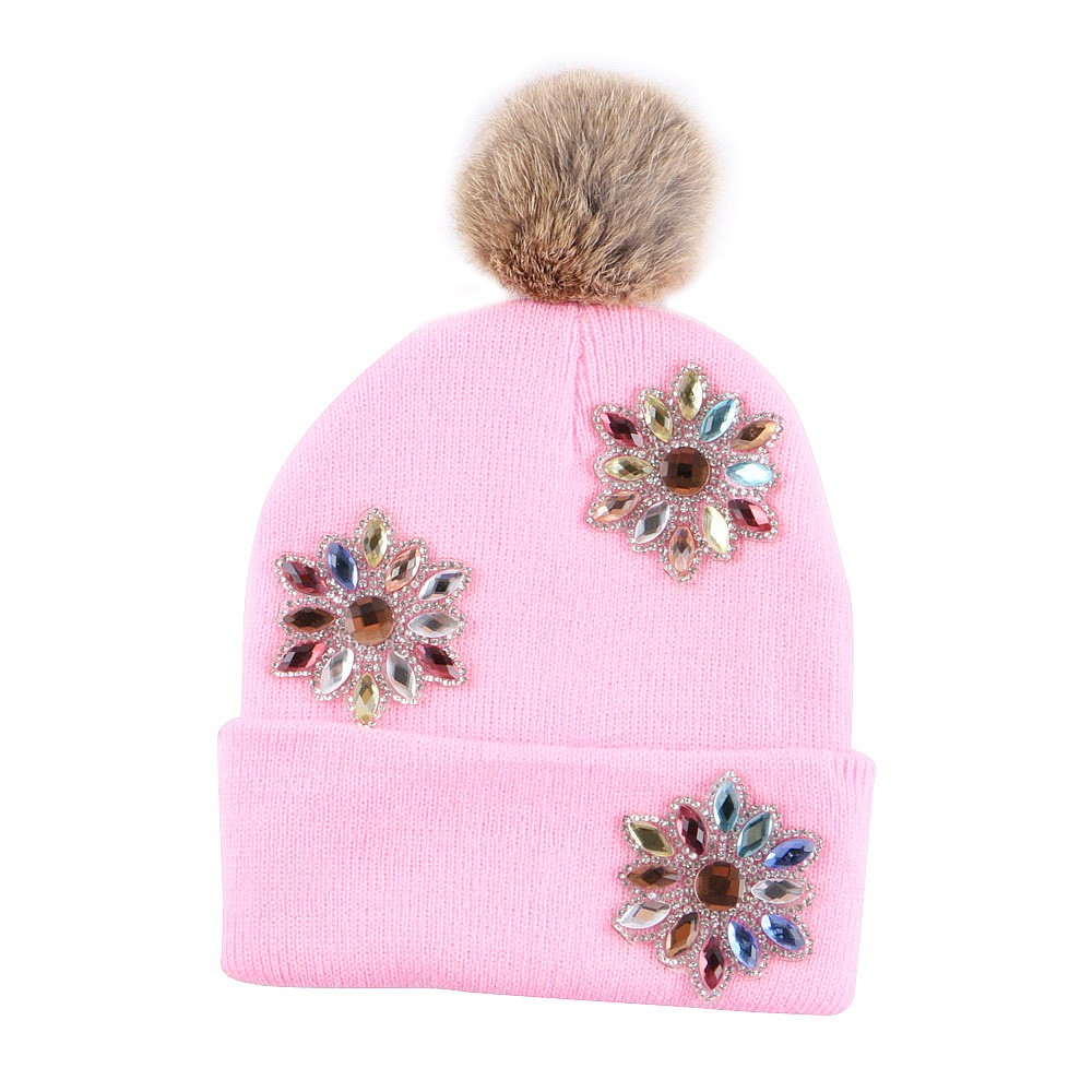 wholesale boy girl floral beauty skullies colored rhinestone flower style luxury winter hats for children 3-12 year kid beanies