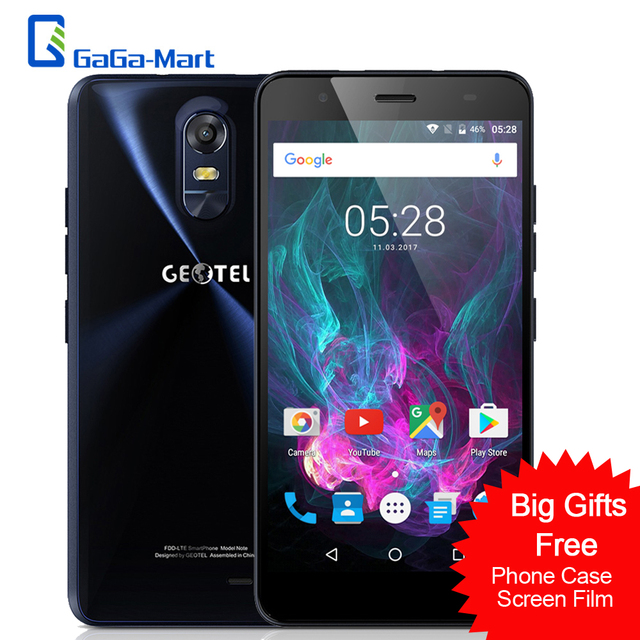 "Geotel Note 4G LTE Smartphone Android 6.0 MTK6737 4xCortex-A53 Cellphone 3GB+16GB 8.0MP+5.0MP 3200mAh 5.5"" inch IPS Mobile Phone"