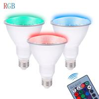 E27 Par30 Par38 10W RGB LED Spotlight Waterproof Bulb AC 85V 265V Dimmable Light Lamp LED