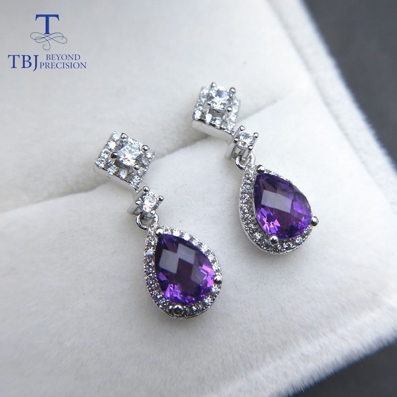 все цены на TBJ,Elegant earring with natural african amethyst top color 2ct checkboard cut gemstone earring in 925 sterling silver with box онлайн